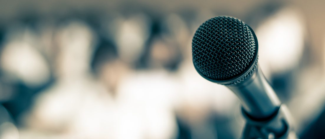 Microphone in view of audience